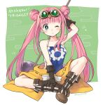 1girl artist_name ayakashi_triangle bare_shoulders blush boots brown_footwear commentary_request copyright_name double_bun english_text eyelashes gears gloves goggles goggles_on_head green_background green_eyes hammer kashito05 korogi_reo long_hair looking_at_viewer one_eye_closed pink_hair sitting solo twintails very_long_hair