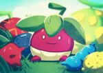 0_0 absurdres berry_(pokemon) blurry bounsweet closed_mouth commentary_request gen_7_pokemon grass highres huge_filesize no_humans pokemon pokemon_(creature) pokeno255 sitting smile solo water_drop