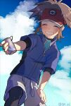 1boy blue_jacket blush bodysuit brown_hair can closed_eyes clouds day from_below grin hand_on_own_thigh holding holding_can incoming_drink jacket leaning_forward male_focus nate_(pokemon) outdoors pokemon pokemon_(game) pokemon_bw2 red_headwear short_sleeves sky smile solo symbol_commentary tpi_ri twitter_username visor_cap water_drop zipper_pull_tab