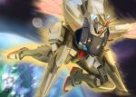absurdres blue_eyes earth_(planet) english_commentary f91_gundam flying gundam gundam_f91 highres mecha mobile_suit moon no_humans planet science_fiction shahnmono solo space v-fin