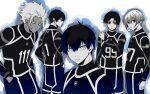 5boys bangs blue_lock hair_between_eyes isagi_yoichi itoshi_rin looking_at_viewer male_focus monochrome multiple_boys nijirou_nanase profile shidou_ryuusei short_hair simple_background spot_color standing tarou_(run) you_hiori