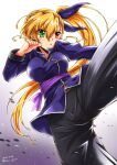 1girl bangs black_pants blonde_hair blue_shirt chinese_clothes clenched_hand commentary dated eyebrows_visible_through_hair frown green_eyes heterochromia high_kick highres kicking leg_up long_sleeves looking_to_the_side lyrical_nanoha mahou_shoujo_lyrical_nanoha_vivid pants parted_lips purple_sash red_eyes san-pon sash shirt side_ponytail solo standing standing_on_one_leg tangzhuang twitter_username vivio