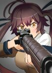 1girl absurdres ahoge aiming amehashi_(vdde3724) antenna_hair bangs battle_rifle breasts brown_hair commentary_request girls_frontline grey_background gun hair_ribbon highres holding holding_gun holding_weapon large_breasts long_hair long_sleeves m14 m14_(girls_frontline) off_shoulder ribbon rifle solo twintails upper_body weapon yellow_eyes
