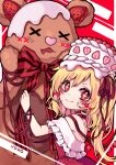 +_+ 1girl adapted_costume alternate_wings bare_shoulders blonde_hair blush cake choker commentary_request dress english_commentary flandre_scarlet food food_on_head fruit hair_ribbon heart highres kyouda_suzuka long_hair looking_at_viewer mixed-language_commentary object_on_head one_side_up red_background red_dress red_eyes red_ribbon ribbon ribbon_choker smile solo strawberry stuffed_animal stuffed_toy teddy_bear touhou upper_body wings x_x
