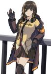 1girl 3_small_spiders absurdres armband bangs blonde_hair braid brown_eyes brown_hair collared_shirt commentary_request cowboy_shot ear_protection eyepatch girls'_frontline gloves hair_over_shoulder highres hood hood_down hooded_jacket jacket knee_pads leaning_on_rail light_blush long_hair looking_at_viewer m16a1_(girls'_frontline) mole mole_under_eye multicolored_hair necktie pleated_skirt railing scar scar_across_eye shirt skirt smile solo streaked_hair thigh-highs waving white_background
