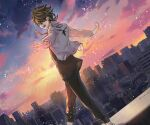 1boy black_hair black_pants black_shirt blonde_hair cityscape earrings feet_out_of_frame hair_over_one_eye hanemiya_kazutora highres huge_filesize jacket jewelry long_sleeves looking_at_viewer ma_(souseki556) male_focus multicolored_hair one_eye_covered open_hands open_mouth outdoors pants shirt short_hair single_earring smile solo tokyo_revengers twilight two-tone_hair walking white_jacket yellow_eyes