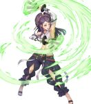 1girl bangs bridal_gauntlets choker fire_emblem fire_emblem_fates fire_emblem_heroes full_body hair_ornament highres japanese_clothes long_hair midriff navel official_art orochi_(fire_emblem) oukawa_yuu pants purple_hair sandals shiny shiny_hair solo stomach tied_hair toeless_footwear toes transparent_background violet_eyes