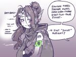 1girl armband bags_under_eyes barcode barcode_tattoo brown_hair camouflage camouflage_cape cape commentary english_commentary english_text girls'_frontline gloves goggles goggles_on_head grifon_&_kryuger headset hood hood_down hooded_cape jaeger_(girls'_frontline) jarv long_hair ponytail sangvis_ferri solo speech_bubble tattoo upper_body violet_eyes