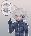 1boy ahoge android bangs black_gloves cheer_(cheerkitty14) danganronpa_(series) danganronpa_v3:_killing_harmony english_commentary english_text glados gloves grey_background grey_eyes grey_hair hair_between_eyes hand_up headphones highres index_finger_raised keebo looking_at_viewer male_focus open_mouth outline portal_(series) short_hair solo speech_bubble upper_body white_outline