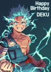 1boy artist_name bangs belt blue_eyes bodysuit boku_no_hero_academia character_name clenched_hands clenched_teeth collarbone commentary elbow_gloves electricity freckles gloves gradient gradient_background green_background green_bodysuit green_hair happy_birthday looking_at_viewer male_focus midoriya_izuku modo_(modo_s2) red_belt short_hair single_glove solo teeth torn_bodysuit torn_clothes white_gloves