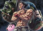 4boys black_hair blue_eyes brown_hair captain_falcon copy_ability fingerless_gloves ganondorf gerudo gloves highres kirby kirby_(series) looking_at_viewer male_focus mishima_kazuya multiple_boys muscular red_eyes scar shirtless short_hair simple_background smile sumaboooo super_smash_bros. tekken the_legend_of_zelda the_legend_of_zelda:_ocarina_of_time thick_eyebrows volcano wings