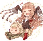 2girls :d :o bangs barefoot blonde_hair boots braid briar_rose_(sinoalice) closed_eyes full_body hair_between_eyes little_red_riding_hood_(sinoalice) long_hair long_sleeves lying multiple_girls on_stomach open_mouth outstretched_arms red_footwear short_hair simple_background sinoalice sitting sitting_on_person smile star_(symbol) teroru white_background