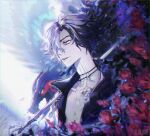 1boy bare_shoulders bird black_hair cane chinese_commentary chromatic_aberration collarbone devil_may_cry_(series) devil_may_cry_5 diffraction_spikes film_grain flower gradient_hair green_eyes griffon_(devil_may_cry_5) hair_between_eyes highres holding holding_cane jewelry light_particles long_neck male_focus mianquan multicolored_hair necklace open_mouth pale_skin red_flower short_hair tattoo upper_body v_(devil_may_cry) watermark white_hair