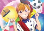 1girl absurdres al_aoi_aoba alternate_costume artist_painter ball bangs collared_shirt eyebrows_visible_through_hair hands_up hat highres long_hair looking_at_viewer love_live! love_live!_superstar!! multicolored multicolored_background orange_hair pointing pointing_up shibuya_kanon shirt signature smile soccer_ball solo teeth upper_body violet_eyes white_shirt