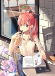 1girl absurdres bangs black_bow book bow cafe commentary drink english_commentary eyebrows_visible_through_hair food hair_ornament hairclip highres holding holding_drink kuri_(animejpholic) long_hair long_sleeves open_book original outdoors pink_hair restaurant sandwich shirt sidelocks solo white_shirt