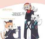 1other 3girls afterimage animal animal_ear_fluff animal_ears arknights black_capelet black_cat black_dress black_headwear black_jacket brown_background brown_hair capelet cat cat_ears cat_girl cat_tail chibi chibi_on_head doctor_(arknights) dress english_text eyepatch fur-trimmed_hood fur_trim hat holding holding_animal hood hood_up hooded_jacket jacket kurotofu lappland_(arknights) long_sleeves mini_hat minigirl mousse_(arknights) multiple_girls multiple_tails on_head on_shoulder open_clothes open_jacket outstretched_arms projekt_red_(arknights) red_jacket shirt sparkle spoken_sweatdrop sweatdrop tail tail_wagging two-tone_background two_tails white_background white_hair white_shirt wide_sleeves