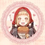 1girl :d bangs blonde_hair food heart holding holding_food jacket little_red_riding_hood_(sinoalice) long_hair long_sleeves looking_at_food looking_at_viewer meat open_mouth portrait red_jacket sinoalice smile solo teeth teroru yellow_eyes