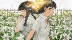 2girls bangs black_hair braid brown_eyes character_request closed_eyes closed_mouth collared_shirt commentary_request ender_lilies_quietus_of_the_knights expressionless fence fiery_hair fire flower from_side garden highres long_hair looking_at_viewer minahamu multiple_girls neck_ribbon own_hands_together pink_flower praying profile red_neckwear ribbon school_uniform shirt short_hair short_sleeves sideways_glance twin_braids upper_body white_flower white_shirt yellow_flower
