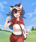 1girl alternate_costume animal_ears belt belt_buckle between_breasts black_hair blue_sky breasts buckle clenched_hands closed_eyes collared_shirt day eyebrows_visible_through_hair fangs gloves golf golf_bag golf_club golf_course grass hair_ornament hairclip highres hololive large_breasts long_hair multicolored_hair ookami_mio pants ponytail red_pants red_shirt running running_towards_viewer shirt short_sleeves single_glove sky solo strap strap_between_breasts streaked_hair sweat tree tugo two-tone_shirt upper_teeth v-shaped_eyebrows very_long_hair virtual_youtuber white_shirt wolf_ears wolf_girl