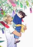 2boys amuro_tooru arms_up bamboo bangs black-framed_eyewear blonde_hair blue_eyes blue_kimono blurry brown_hair child closed_mouth commentary_request depth_of_field edogawa_conan fingernails from_side glasses grey_background height_difference highres holding holding_tanzaku japanese_clothes k_(gear_labo) kimono lifting_person long_sleeves looking_up male_focus meitantei_conan multiple_boys obi open_mouth profile sash shirt short_hair short_sleeves simple_background smile tanabata tanzaku upper_body white_shirt wide_sleeves yellow_sash zouri