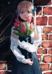 1girl absurdres black_skirt blonde_hair blue_bow blue_eyes bow brick_wall cowboy_shot dyuba000 flower hair_bow highres huge_filesize leaf long_hair looking_at_viewer original parted_lips pink_flower plant shirt shirt_tucked_in skirt sleeves_past_wrists solo tulip twintails vines white_shirt