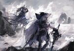 2girls animal_ears apple_da-ze arknights bangs black_cape black_headwear black_pants blue_sky building cape capelet closed_eyes clothing_cutout clouds coat commentary day grani_(arknights) grey_shirt hair_between_eyes hat highres holding holding_polearm holding_spear holding_weapon horse_ears horse_tail long_hair looking_afar looking_ahead low_ponytail multiple_girls open_clothes open_coat outdoors pants polearm ponytail shirt shoes shore silver_hair skadi_(arknights) sky sneakers spear tail thigh_cutout visor waves weapon