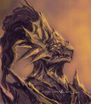1boy animal_helmet armor dark_souls_i dragon_slayer_ornstein from_side full_armor helmet highres male_focus monochrome orange_theme portrait profile shimhaq signature solo souls_(series)