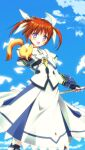 1girl bangs black_gloves blue_eyes blue_sky bracer brown_hair clouds cloudy_sky commentary_request cropped_jacket day dress eyebrows_visible_through_hair ferret fingerless_gloves gloves hair_ribbon hajime_kazuhito highres holding holding_staff jacket juliet_sleeves long_dress long_sleeves looking_at_viewer lyrical_nanoha magical_girl mahou_shoujo_lyrical_nanoha mahou_shoujo_lyrical_nanoha_the_movie_1st open_mouth outdoors puffy_sleeves raising_heart ribbon short_hair sky smile staff standing twintails white_dress white_jacket white_ribbon yuuno_scrya
