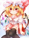 1girl bangs black_legwear blonde_hair blue_background blush bow breasts closed_mouth collar crystal eyebrows_visible_through_hair eyes_visible_through_hair flandre_scarlet gradient gradient_background hair_between_eyes hat hat_ribbon highres looking_at_viewer marukyuu_ameya medium_hair mob_cap multicolored multicolored_wings petals pink_bow pink_collar pink_neckwear pink_ribbon pink_skirt ponytail puffy_short_sleeves puffy_sleeves red_eyes red_nails ribbon school_uniform shirt short_sleeves sitting skirt small_breasts smile solo thigh-highs touhou white_background white_headwear white_shirt white_sleeves wings