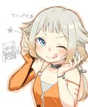 2girls :q bangs blonde_hair blue_eyes blush cevio character_request choker dress elbow_gloves fingerless_gloves gloves god_razor halterneck highres long_hair looking_at_viewer multiple_girls one_(cevio) one_eye_closed orange_dress ponytail sidelocks single_glove tongue tongue_out white_background