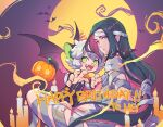 2boys animal_ears bandages bat_wings black_hair blue_eyes candle cat_boy cat_ears cat_tail fire green_eyes happy_birthday hat jack-o'-lantern long_hair luoxiaohei multiple_boys mummy_costume suncle tail the_legend_of_luo_xiaohei vampire_costume very_long_hair wings wuxian_(the_legend_of_luoxiaohei)
