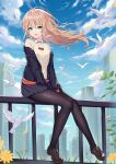 1girl :d absurdres between_legs bird black_jacket black_legwear black_skirt blonde_hair blue_sky clouds collared_shirt dove floating_hair green_eyes gridman_universe highres hokori_sakuni jacket leaf leaves_in_wind loafers long_hair long_sleeves looking_at_viewer minami_yume miniskirt off_shoulder open_clothes open_jacket open_mouth outdoors pantyhose pleated_skirt railing shirt shoes sitting skirt sky smile solo ssss.dynazenon white_shirt wind