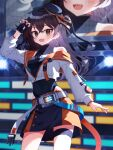 1girl :o absurdres asymmetrical_legwear black_hair blurry breasts cellphone claw_pose cowboy_shot cropped_jacket dancing depth_of_field display_board earrings fingerless_gloves floating_hair gloves hand_up hat henia_(henia61999) highres idol idolmaster idolmaster_cinderella_girls idolmaster_cinderella_girls_starlight_stage jacket jewelry leotard light looking_at_viewer mole mole_under_eye nail_polish open_clothes open_jacket phone sharp_teeth sleeveless small_breasts smile solo stage sunazuka_akira teeth thigh_strap tilted_headwear two_side_up zipper