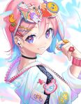 1girl air_pods artist_name bangs bear blue_hair blurry blurry_foreground blush bracelet bubble_tea eyebrows_visible_through_hair flower food food-themed_hair_ornament fruit hair_between_eyes hair_ornament hairclip heart heart_ring highres holographic_clothing ice_cream_cone jacket jewelry letta_illust long_sleeves looking_at_viewer looking_back multicolored multicolored_background multicolored_hair orange_(food) original patch pink_hair playing_with_own_hair portrait ring rubber_duck short_hair smile solo strawberry_hair_ornament sunglasses symbol_commentary unicorn zipper