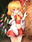 1girl bangs bare_shoulders blonde_hair blush bow breasts bush closed_mouth collar cosplay crystal detached_sleeves eyebrows_visible_through_hair eyes_visible_through_hair flandre_scarlet hair_between_eyes hair_bow hair_tubes hakurei_reimu hakurei_reimu_(cosplay) hand_up highres japanese_clothes light long_sleeves looking_at_viewer marukyuu_ameya miko miniskirt multicolored multicolored_wings red_bow red_eyes red_nails red_skirt red_vest shadow short_hair skirt small_breasts solo standing stomach touhou vest wall white_collar white_sleeves wings yellow_neckwear