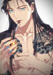 1boy akai_shuuichi bare_pectorals black_hair black_shirt chest_tattoo cigarette collarbone commentary_request dragon_tattoo fingernails fire green_eyes grey_background highres holding k_(gear_labo) long_hair looking_at_viewer male_focus matches meitantei_conan mouth_hold nipples open_clothes open_shirt parted_lips pectorals shirt simple_background solo tattoo toned toned_male upper_body
