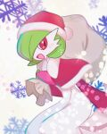 1girl bangs blush bob_cut capelet christmas clothed_pokemon colored_skin commentary_request from_side fur-trimmed_capelet fur-trimmed_headwear fur_trim gardevoir gen_3_pokemon green_hair green_skin hair_over_one_eye hand_up happy hat holding holding_sack jpeg_artifacts leaning_forward looking_at_viewer multicolored multicolored_skin open_mouth pokemon pokemon_(creature) pom_pom_(clothes) red_capelet red_eyes red_headwear red_sleeves ronen sack santa_hat short_hair smile snowflake_background solo standing two-tone_skin white_background white_skin