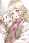 1girl :d bangs blonde_hair dirt hair_between_eyes holding jacket letterman_jacket little_red_riding_hood_(sinoalice) long_hair long_sleeves looking_at_viewer open_mouth red_shirt shirt shovel simple_background sinoalice smile solo teroru white_background white_jacket yellow_eyes