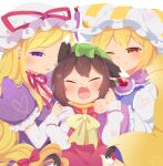 3girls :3 :d ;) animal_ears bangs blonde_hair blush bow brown_hair cat_ears cat_tail chen choker closed_eyes closed_mouth commentary_request dress elbow_gloves eyebrows_visible_through_hair fang fox_ears fox_tail frills gloves gold_trim green_headwear hair_bow hair_ribbon happy hat hat_ribbon heart highres ibaraki_natou long_hair long_sleeves mob_cap multiple_girls multiple_tails nekomata no_lineart one_eye_closed open_mouth parted_lips pillow_hat puffy_short_sleeves puffy_sleeves purple_dress red_bow red_choker red_dress red_eyes red_ribbon ribbon ribbon_choker short_hair short_sleeves signature simple_background smile tabard tail touhou tress_ribbon two_tails upper_body very_long_hair violet_eyes white_background white_dress white_headwear wide_sleeves yakumo_ran yakumo_yukari yellow_bow yellow_neckwear