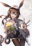 1girl ;d absurdres amiya_(arknights) animal_ear_fluff animal_ears arknights asc11 bag bangs baseball_cap blue_eyes blush brown_hair brown_legwear chinese_commentary chromatic_aberration commentary_request cowboy_shot creature dated_commentary ears_through_headwear eyebrows_visible_through_hair floating_hair flower hair_between_eyes hat highres holding jacket jewelry long_hair long_sleeves looking_at_viewer metal_crab_(arknights) multiple_rings one_eye_closed open_clothes open_jacket open_mouth outstretched_arm pantyhose plant ponytail rabbit_ears ring simple_background smile solo standing upper_teeth v very_long_hair white_background white_headwear white_jacket yellow_flower zoom_layer