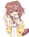 +_+ 1girl :d animal_collar animal_ears bangs blush bone_hair_ornament bracelet braid brown_eyes brown_hair buttons check_commentary collar commentary_request dog_ears dog_girl dog_tail dress extra_ears fang fangs hair_between_eyes hair_ornament hairclip hololive inugami_korone jacket jewelry listener_(inugami_korone) long_hair looking_at_viewer low_twin_braids magnifying_glass off_shoulder open_mouth rabiiandrain red_collar short_dress simple_background skin_fang smile solo tail twin_braids virtual_youtuber white_background white_dress yellow_jacket