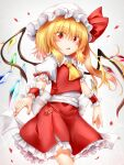 1girl bangs belt blonde_hair blush bow breasts collar crystal eyebrows_visible_through_hair eyes_visible_through_hair flandre_scarlet frills gradient gradient_background grey_background hair_between_eyes hat hat_ribbon highres looking_at_viewer marukyuu_ameya mob_cap multicolored multicolored_wings open_mouth petals ponytail puffy_short_sleeves puffy_sleeves red_eyes red_nails red_ribbon red_skirt red_vest ribbon shirt short_hair short_sleeves skirt small_breasts solo standing touhou vest white_background white_belt white_bow white_collar white_headwear white_shirt white_sleeves wings wrist_cuffs yellow_neckwear