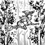 1girl broom broom_riding dappled_sunlight dress english_commentary forest from_side full_body greyscale hat kagari_atsuko little_witch_academia long_hair monochrome nature outdoors solo sunlight truffleduster witch witch_hat
