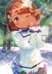 1girl ;) bangs blurry blurry_background blush braid brown_eyes brown_hair closed_mouth commentary_request crown_braid depth_of_field eyebrows_visible_through_hair feather_hair_ornament feathers final_fantasy final_fantasy_xiv hair_ornament hands_clasped hands_up kou_hiyoyo lalafell leaning_to_the_side long_sleeves looking_at_viewer one_eye_closed original own_hands_together pointy_ears shirt short_hair sleeves_past_wrists smile solo white_feathers white_shirt
