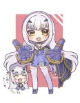 1girl :d ^_^ bangs black_gloves blue_footwear blue_skirt blush brown_eyes closed_eyes commentary_request eyebrows_visible_through_hair fairy_knight_lancelot_(fate) fate/grand_order fate_(series) frilled_skirt frills gloves headgear highres long_hair looking_at_viewer multiple_views notice_lines open_mouth popo_(popopuri) red_background shirt shoes skirt smile standing thigh-highs translation_request two-tone_background upper_teeth very_long_hair white_background white_hair white_legwear white_shirt