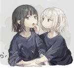 2girls arm_grab black_hair expressionless finger_in_another's_mouth highres multiple_girls open_mouth original roisa short_hair sketch sweatdrop upper_body white_hair yuri