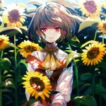 1girl acetylene-lamp adapted_costume ascot backlighting bangs belt blue_sky blurry blurry_background blush brown_belt closed_mouth commentary_request dappled_sunlight day dress eyebrows_visible_through_hair flower garden_of_the_sun green_hair hair_between_eyes highres holding holding_flower kazami_yuuka light_particles light_smile lips long_sleeves looking_at_viewer off-shoulder_dress off_shoulder red_dress red_eyes revision shiny shiny_hair shirt sky solo sunflower sunlight touhou turtleneck wavy_hair white_shirt wind yellow_neckwear