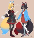 2girls :d absurdres animal_ear_fluff animal_ears aqua_hair aqua_ribbon arrow_(symbol) belt black_belt black_capelet black_footwear black_hair black_legwear black_tail blonde_hair blue_hoodie boots brown_background buttons capelet cosplay costume_switch cross-laced_footwear dark-skinned_female dark_skin double-breasted drawstring eye_contact eyebrows_visible_through_hair flower full_body hair_between_eyes hair_flower hair_ornament hair_ribbon hakama hands_up highres hood hood_down hoodie indie_virtual_youtuber japanese_clothes katana light_blush long_sleeves looking_at_another medium_hair military military_uniform multicolored multicolored_hair multicolored_tail multiple_girls multiple_tails necktie open_clothes open_hoodie open_mouth outline pantyhose red_eyes red_flower red_hakama red_neckwear red_ribbon red_skirt red_tail ribbon sakura_chiyo_(konachi000) sakuraba_chiyo scabbard sheath sheathed shoes short_hair short_sleeves signature simple_background skirt sleeves_past_wrists smile sneakers standing streaked_hair sword tail tassel thigh-highs two_tails uniform very_dark_skin virtual_youtuber weapon white_footwear white_legwear white_outline wing_collar yamano_kayo yellow_eyes