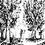 1girl broom forest greyscale hat little_witch_academia monochrome nature outdoors silhouette standing tree truffleduster witch_hat
