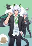2boys animal_ears bag black_cat black_jacket black_pants blue_eyes cat cat_boy cat_ears cat_tail collared_shirt green_eyes green_neckwear grey_hair hair_between_eyes highres holding holding_bag huangshou_(the_legend_of_luoxiaohei) jacket long_sleeves luoxiaohei multiple_boys necktie pants shadow shaking shirt short_hair suncle tail the_legend_of_luo_xiaohei white_hair white_shirt